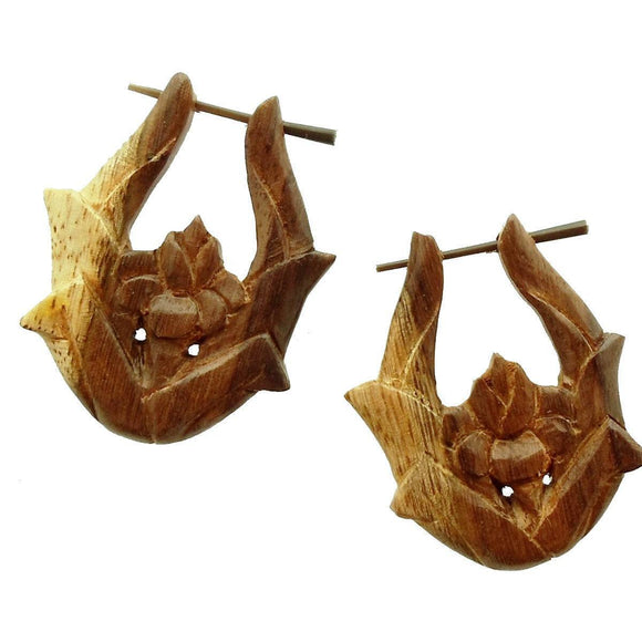 Wood Jewelry | Blossom. variegated sono wood earrings.