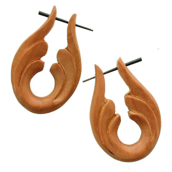 Natural Jewelry | Beginning, sabo. Wood Earrings. Natural Jewelry.