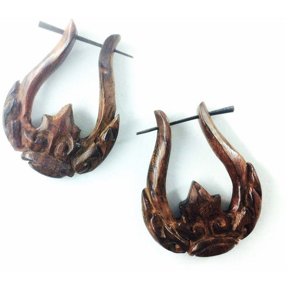 Wood Jewelry | Scepter. Wood Earrings. Natural Sono, Handmade Wooden Jewelry.