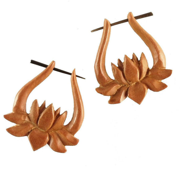 Wood Jewelry | Unfolding Lotus. Tribal Earrings, wood. 1 1/4