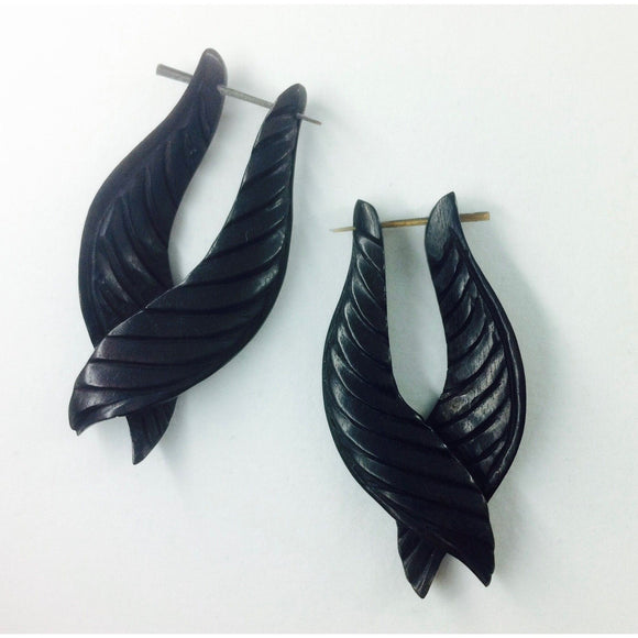 Feathered Twist. Black. Wooden Earrings.