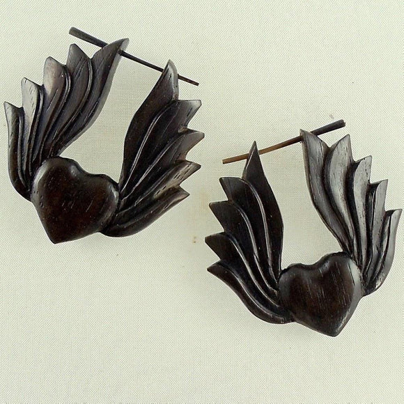 Wood Jewelry | Winged Heart.  Wooden Earrings. Natural Black Jewelry.