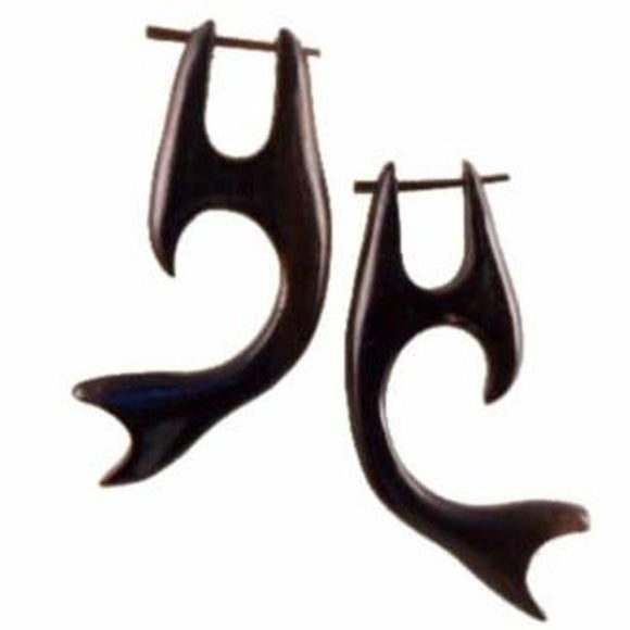 Natural Jewelry | Whale Tail, black. Wooden Earrings & Tribal Jewelry.