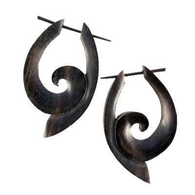 Wood Jewelry | South Pacific. Black Wood Earrings,  1 1/4