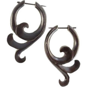 Natural Jewelry | Sprout. Black Wood Earrings,  1 1/8