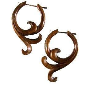 Tribal Earrings | Sono Wood Earrings, 1 1/8 inches W x 1 3/4 inches L. $36