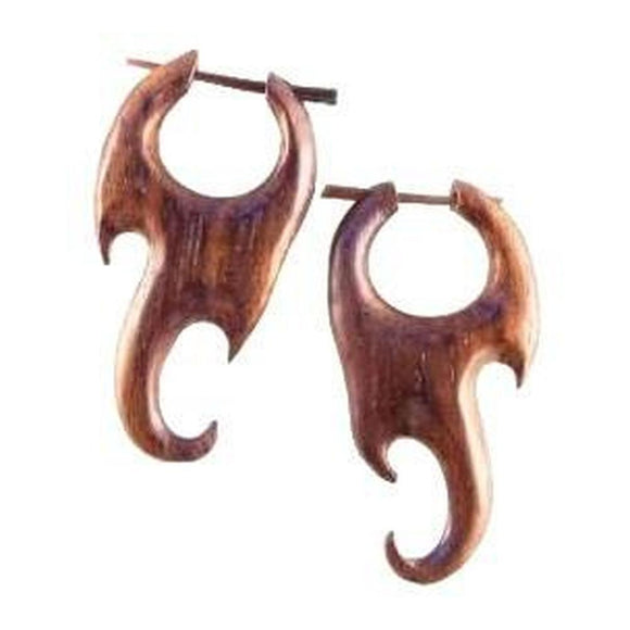 Wood Jewelry | Flame. Wood Earrings. Natural Sono, Handmade Wooden Jewelry.