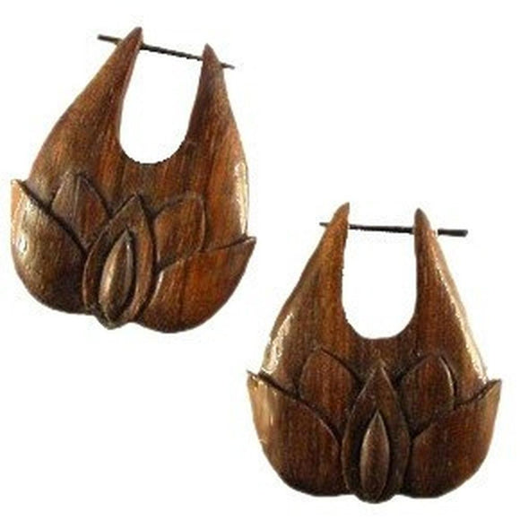 Wood Jewelry | Voluptuous Lotus. Sono Wood Earrings.