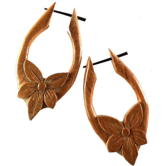 Wood Jewelry | Star Flower, Tribal Earrings, wood. 1 1/8