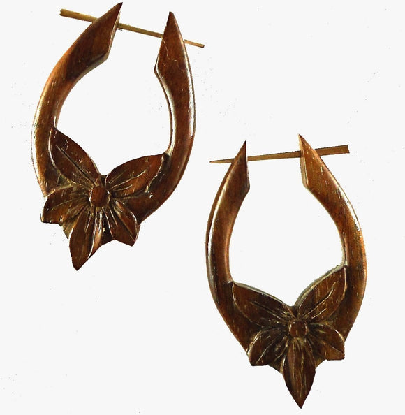 Wood Jewelry | Star Flower, Wooden Earrings, 1 1/8