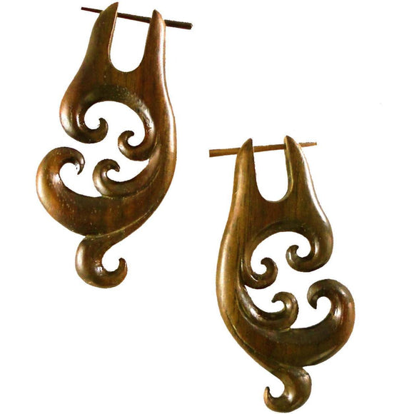 Wood Jewelry | Spectral Swirl, Sono Wood Earrings. 1