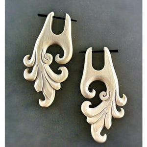 Natural Jewelry | Dragon Vine. Light  Hanging Long Wood Earrings. 1 1/4
