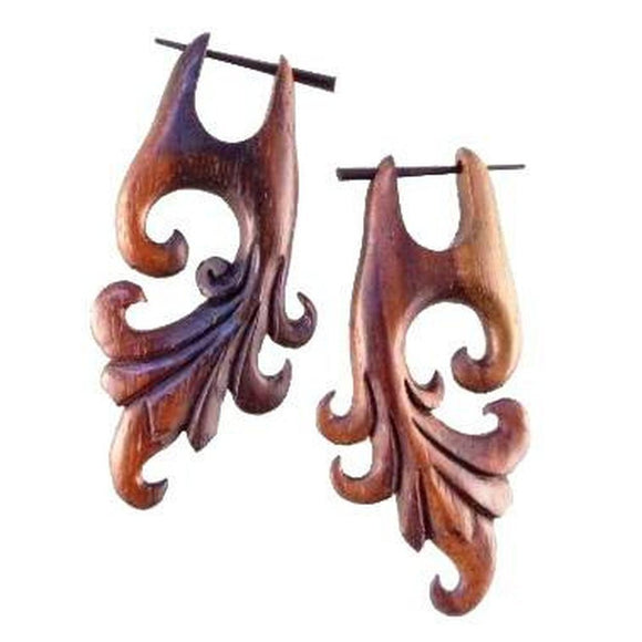 Wood Jewelry | Dragon Vine. Wooden Earrings. 1 1/4