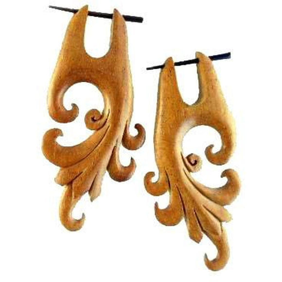 Wood Jewelry | Dragon Vine. Hibiscus Wood Earrings. 1 1/4
