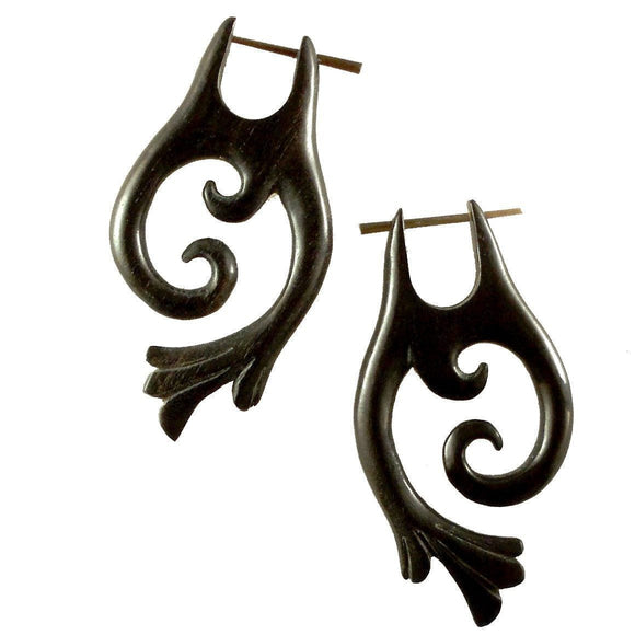 Tribal Earrings | Falcon Vine. Areng Wood. Wooden Earrings & Natural Jewelry.