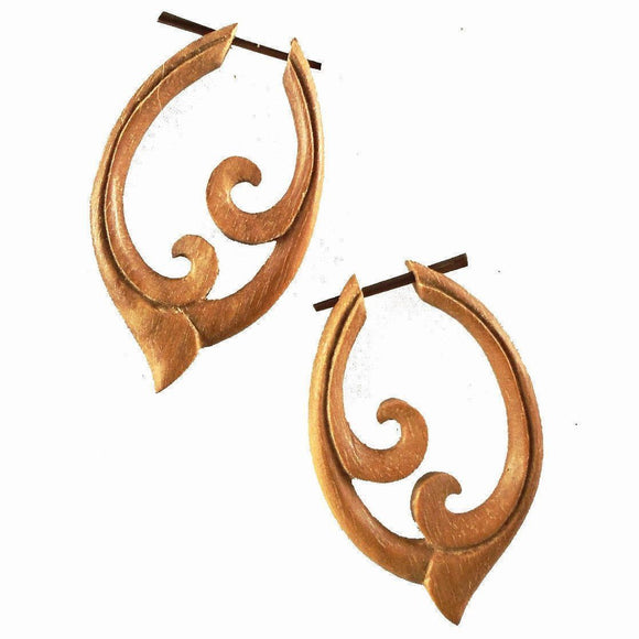 Natural Spiral Jewelry | Pura Vida, sabo. Wood Earrings.