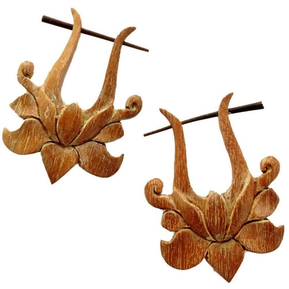 Wood Jewelry | Lotus Rose. Tribal Earrings, wood. 1 1/2