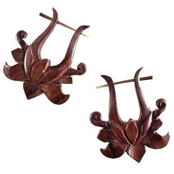 Wood Jewelry | Lotus Rose. Wooden Earrings, sono. 1 1/2