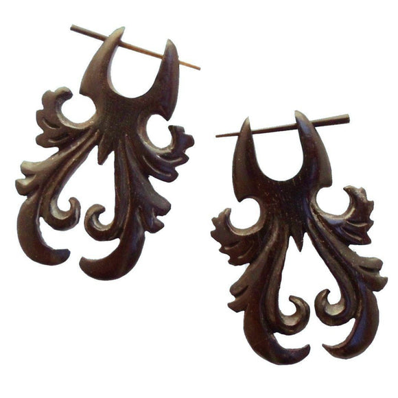 Wood Jewelry | Tribal Dawn Steam, Black. Wooden Earrings.