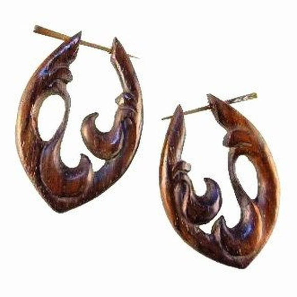 Wood Jewelry | Water. Wood Earrings. Natural Sono, Handmade Wooden Jewelry.