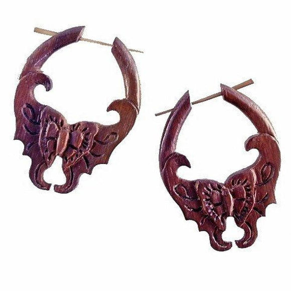 Tribal Jewelry | Butterfly. Wood Earrings. 1 1/2