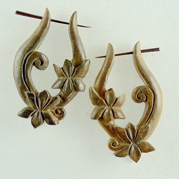 Wood Jewelry | Lotus Vine Hoop Earrings. Wooden.