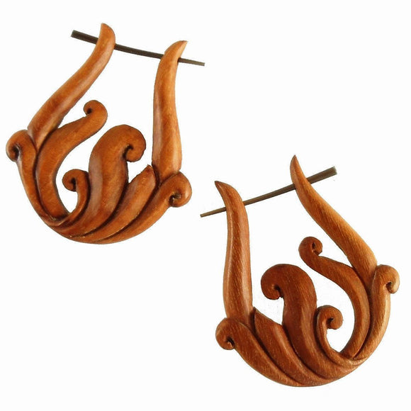 Wood Jewelry | Spring Vine. Tribal Earrings, wood. 1 1/4