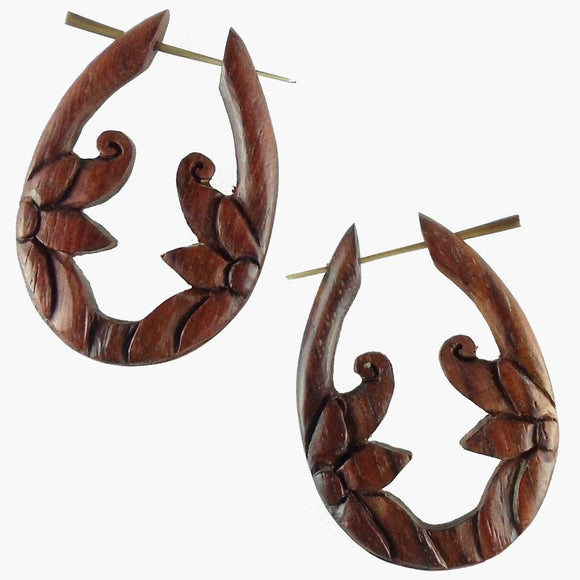 Wood Jewelry | Moon Flower. Wooden Hoop Earrings, sono. 1 1/4