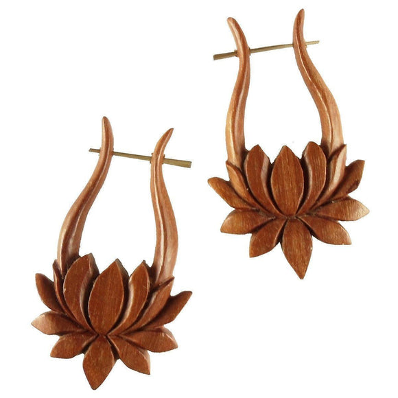 Wood Jewelry | Lotus. Wood Earrings. Natural Sabo, Handmade Wooden Jewelry.