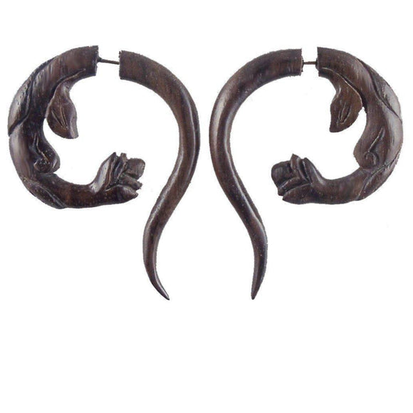 Stick Faux Gauges | Spring Blossom. Fake Gauges. Natural Sono, Wood Jewelry.