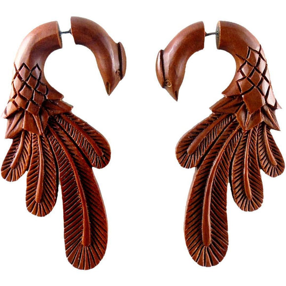 Diva Fake Gauges | Peacock Pheasant. Fake Gauge Earrings, Natural Sabo. Wooden Jewelry.