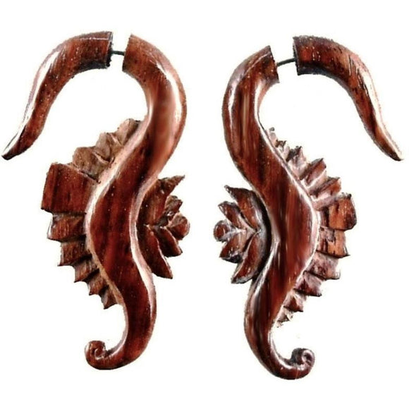 Wood Faux Gauges | Seahorse Flower. Fake Gauges. Natural Sono, Wood Jewelry.