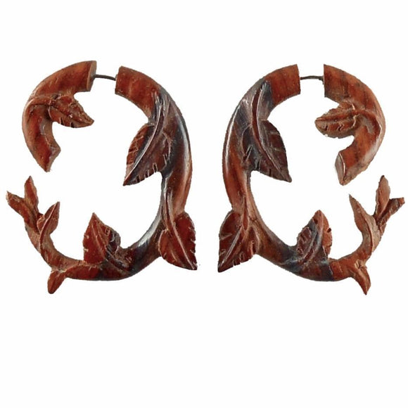 Tribal Earrings | Ivy. Fake Gauges. Natural Sono, Wood