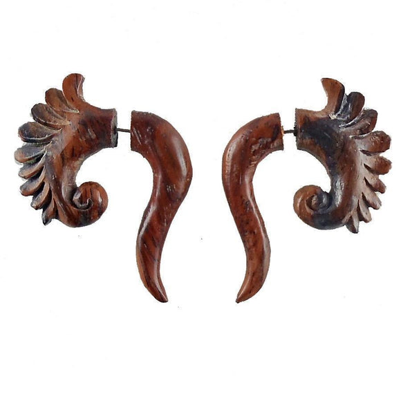 Wood Faux Gauges | Curls. Fake Gauges. Natural Sono, Wood Jewelry.