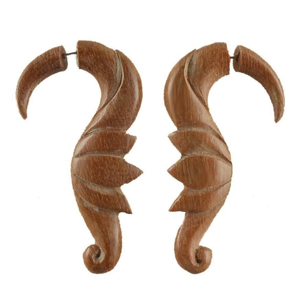 Sabo wood Earrings | Soaring Birds. Fake Gauge Earrings, Natural Sabo. Wooden Jewelry.