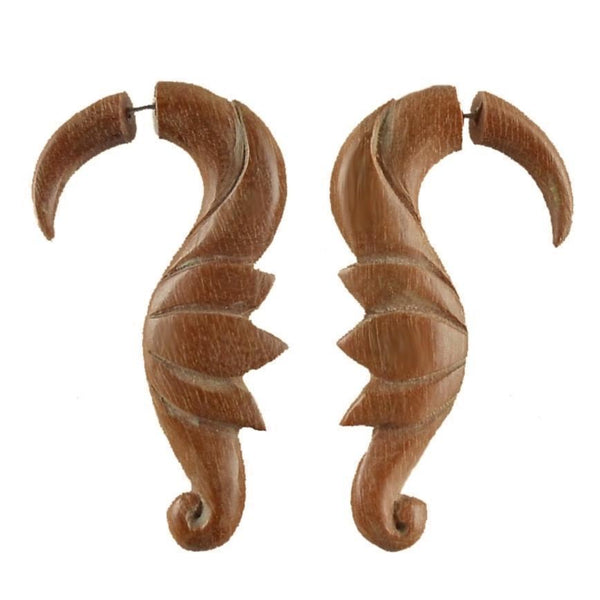 Fake Gauge Earrings | Fake Gauge Earrings, Soaring Birds. Sabo Wood Earrings.