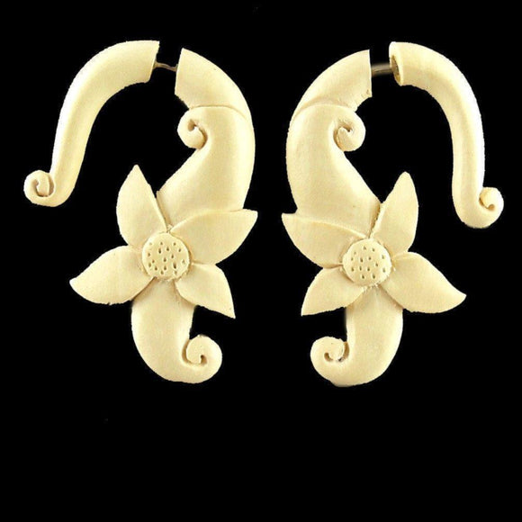 Wood Fake Gauge Earrings | Moon Flower, Ivory. Fake Gauge Earrings. Wood Jewelry.
