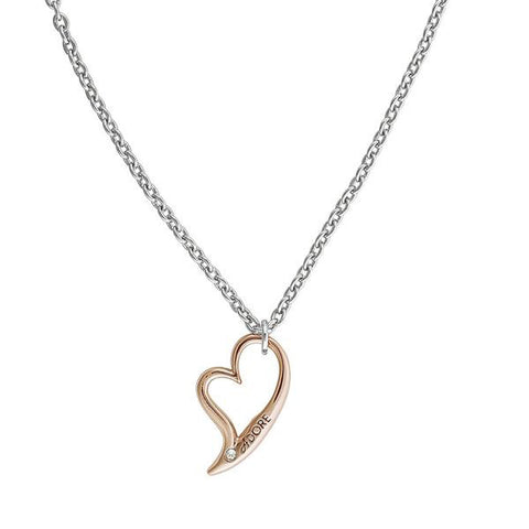 Open Heart Necklace - Crystal/Rhodium & Rose Gold Plated