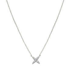 4 Point Star Necklace - Crystal/Rhodium Plated