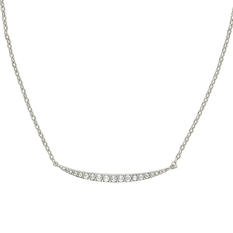 Curved Bar Necklace - Crystal/Rhodium Plated