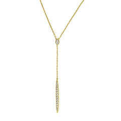 Pavé Bar Y Necklace - Crystal/Gold Plated