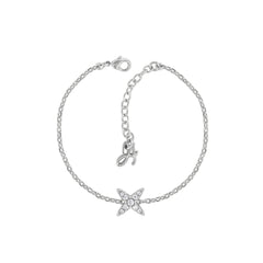 4 Point Star Bracelet - Crystal/Rhodium Plated