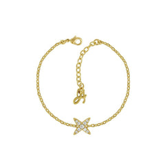 4 Point Star Bracelet - Crystal/Gold Plated