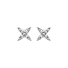 4 Point Star Earrings - Crystal/Rhodium Plated