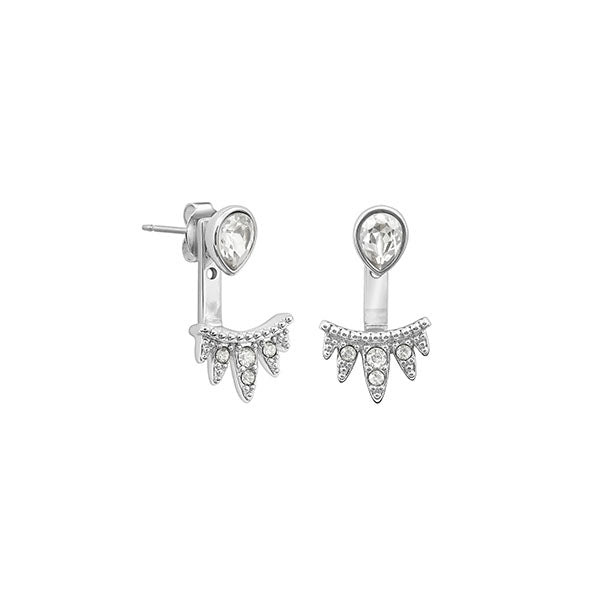 Teardrop Jacket Earrings - Crystal/Rhodium Plated