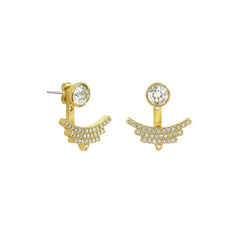 Pavé Arc Jacket Earrings - Crystal/Gold Plated
