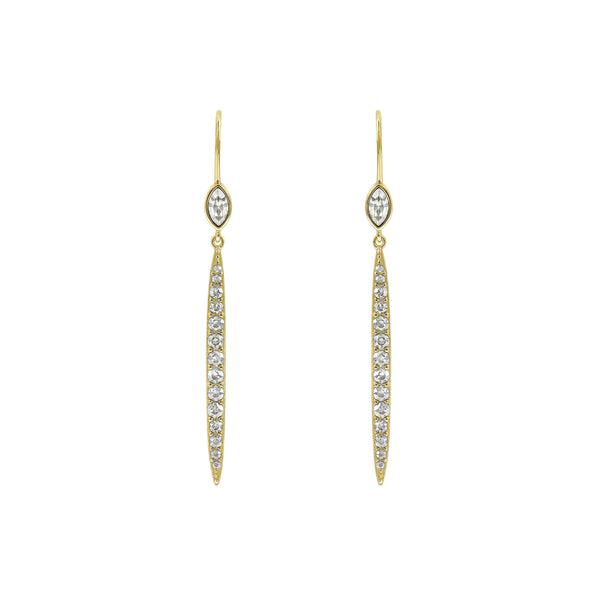 Linear Bar French Wire Earrings - Crystal/Gold Plated