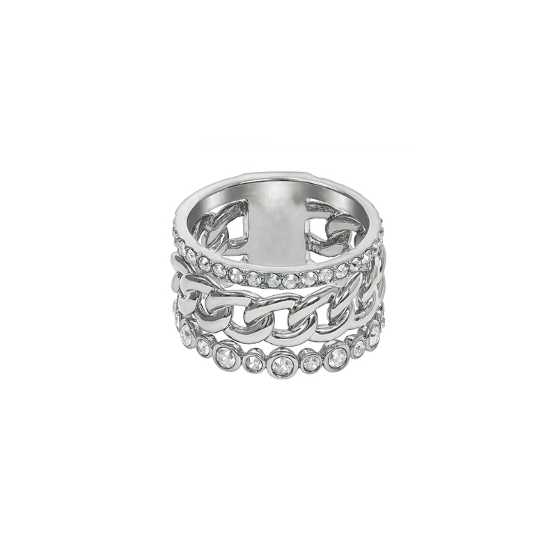 3 Row Fixed Ring - Chrystal/Rhodium Plated