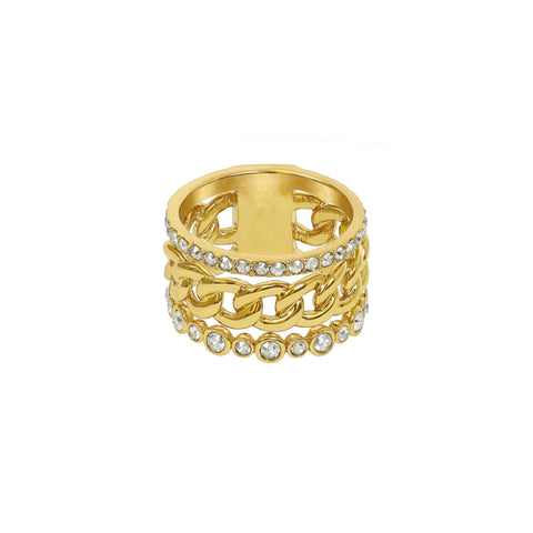3 Row Fixed Ring - Crystal/Gold Plated
