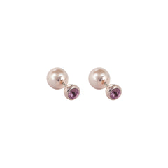 Reverse Pearl & Stone Earrings - Pink Crystal/Rose Gold Plated